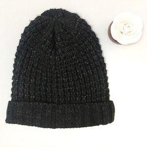 LOFT Gray Sparkle Knit Winter Beanie Hat